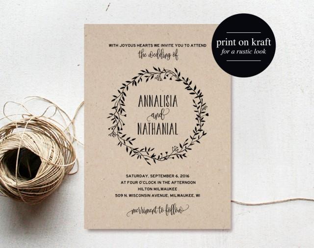 Free Rustic Wedding Invitation Templates: Rustic Wedding Invitation Printable, Wreath, Country