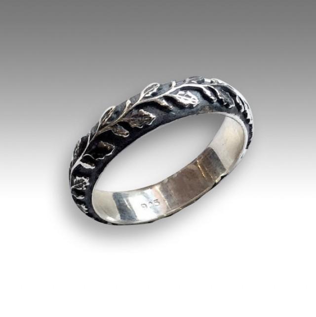 Unisex Wedding Band Nature Ring Mens Womens Ring Vine Ring Botanical Band Boho Ring Unique