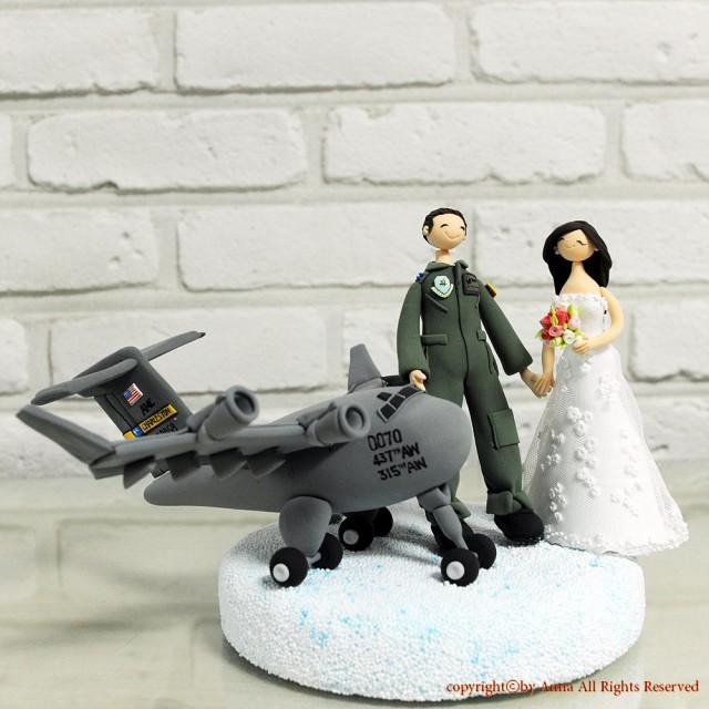 Custom wedding cake topper pilot cargo plane air force for Air force decoration