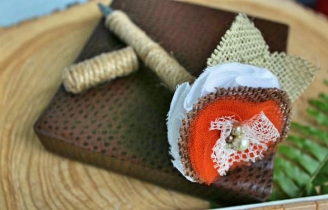 wedding photo - Fall Wedding Guest book Pen - Orange and Brown With Twine and Covered Cap-Vintage-Rustic-Flower Pen-Handmade