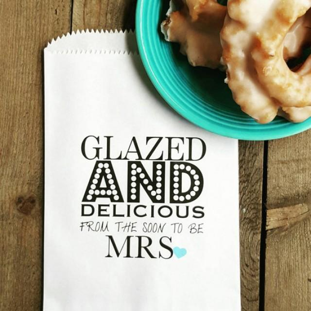 wedding photo - Bridal Shower Favor Bags / Glazed and Delicious / Donut Favor Bags