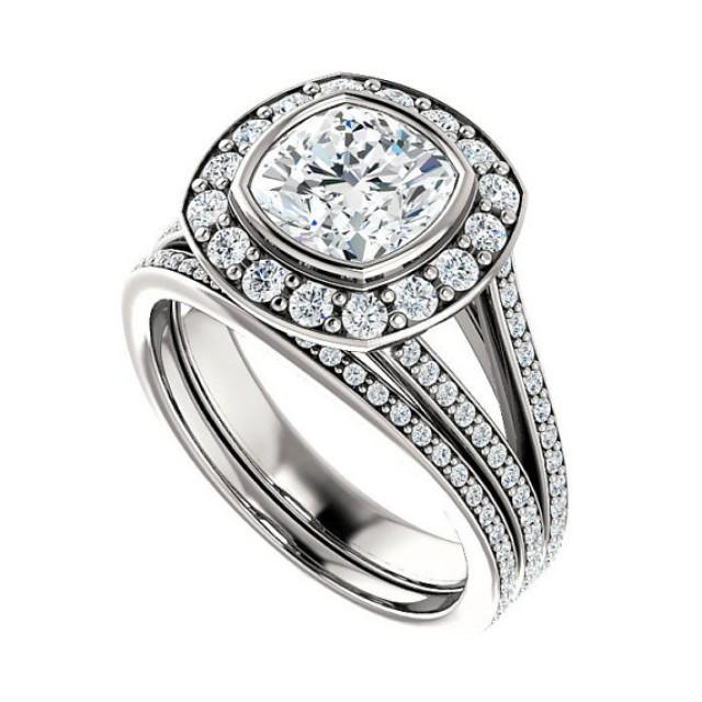 one moissanite diamond wedding set bridal set engagement ring