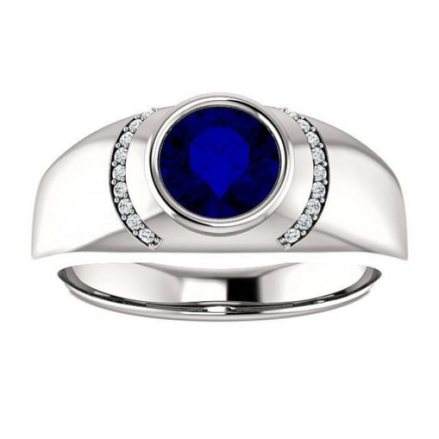7mm blue sapphire diamond men 39 s ring 14k white gold men