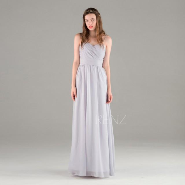 2016 light gray chiffon bridesmaid dress backless wedding for Light grey wedding dress
