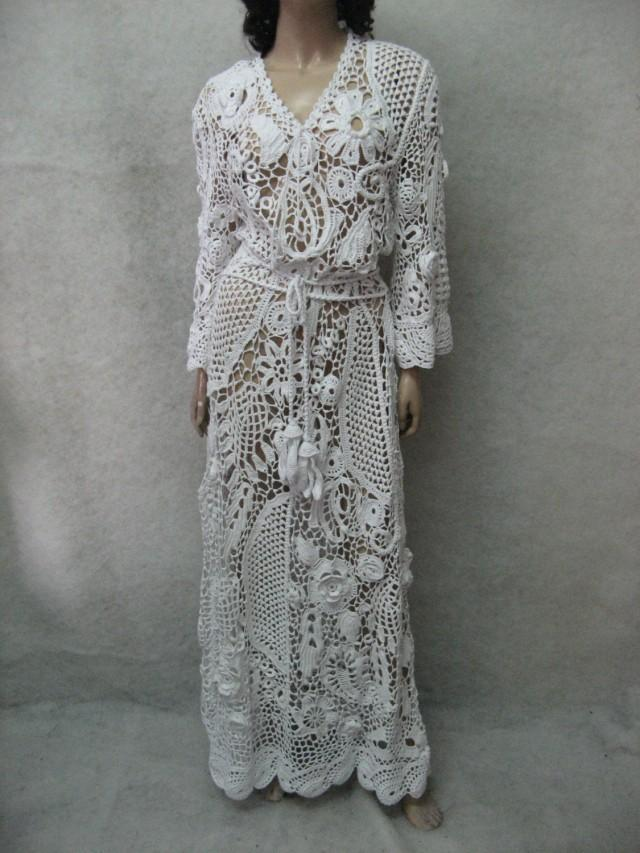 Crochet dress handmade maxi dress crochet white dress for Crochet lace wedding dress pattern