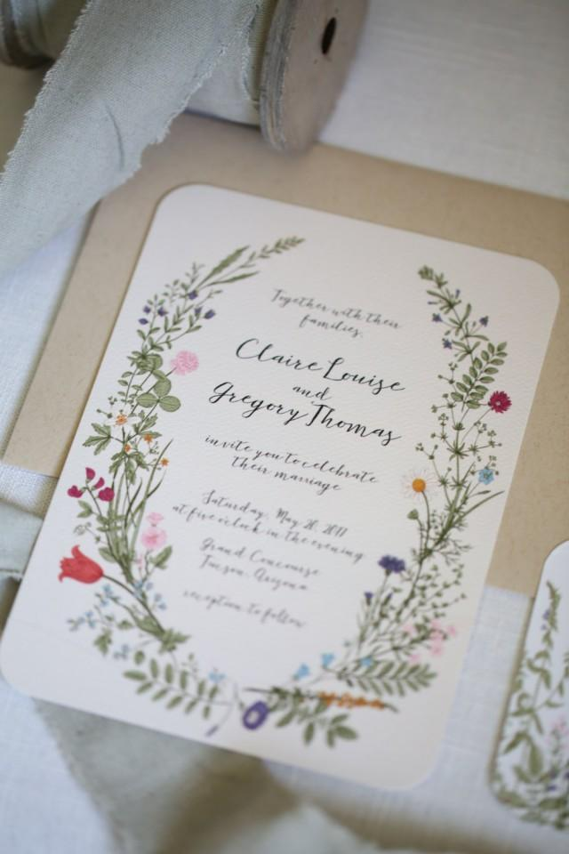 Wildflower wedding invitation set floral garden