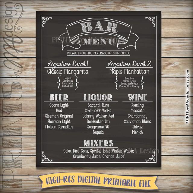 Bar Menu Sign Chalkboard Drink Alcohol Selection