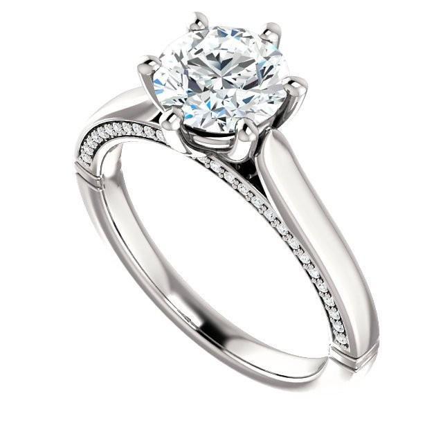 7mm Forever One Moissanite & Diamond Engagement Ring 14k