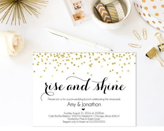 Newlywed Brunch Invitation Printable Post Wedding Brunch Invitation Wedding Brunch Rise And