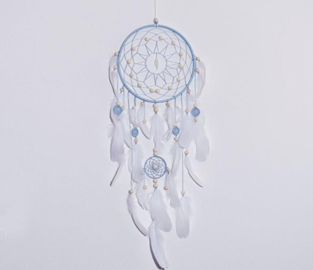 Blue dream catcher large dreamcatcher dreamcatchers boho for Dreamcatcher beads meaning
