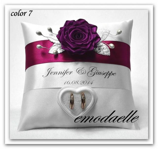 wedding photo - Personalized wedding ring cushion pillow with rings holder box