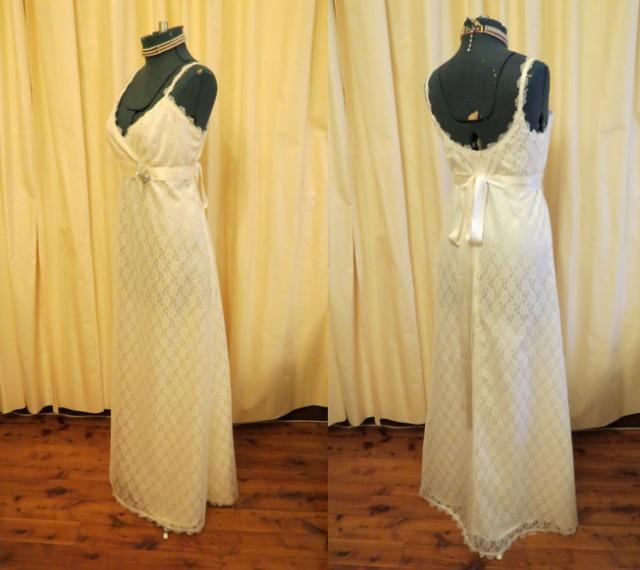 Simple Flower Vintage Lace Ivory Wedding Dress Handmade ...