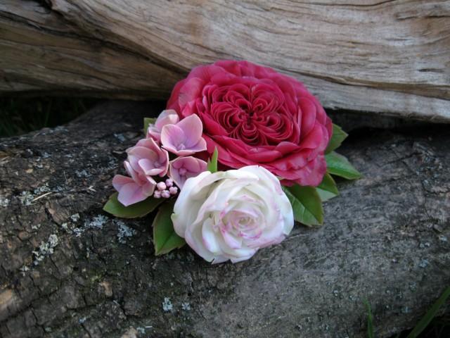 wedding photo - Flower fascinator Rose barrette English rose hair clip Wedding hair flower rose Bridal flower clip Pink hair flower Polymer clay rose