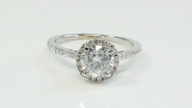 wedding photo - ON SALE !!! Diamond Engagement Ring 1.67 ct - Yellow Gold halo ring - halo diamond engagement ring - Bridal Jewelery - Anniversary