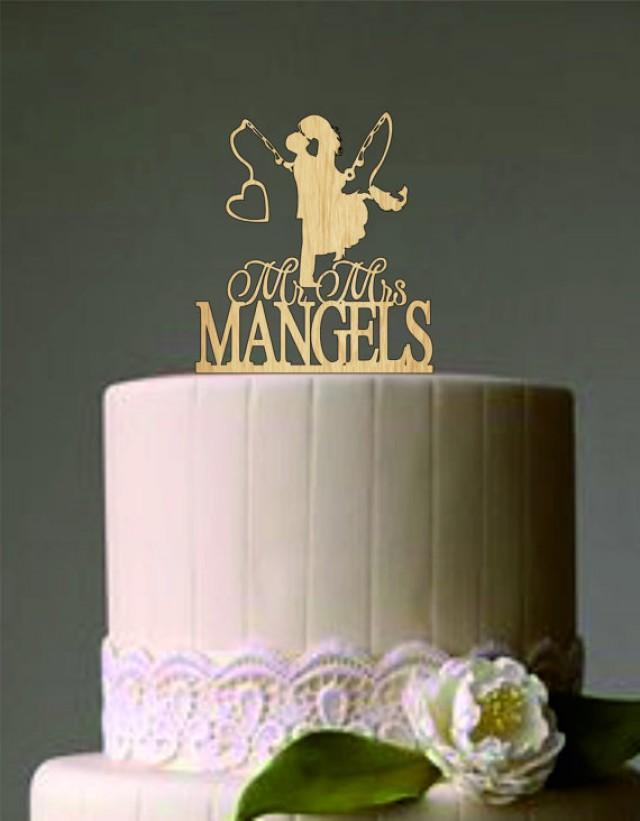 wedding photo - Wedding Couple Fishing Pole Heart - Unique Wedding Cake Topper - Custom Personalized Wedding Cake Topper - Wedding Decor Heart
