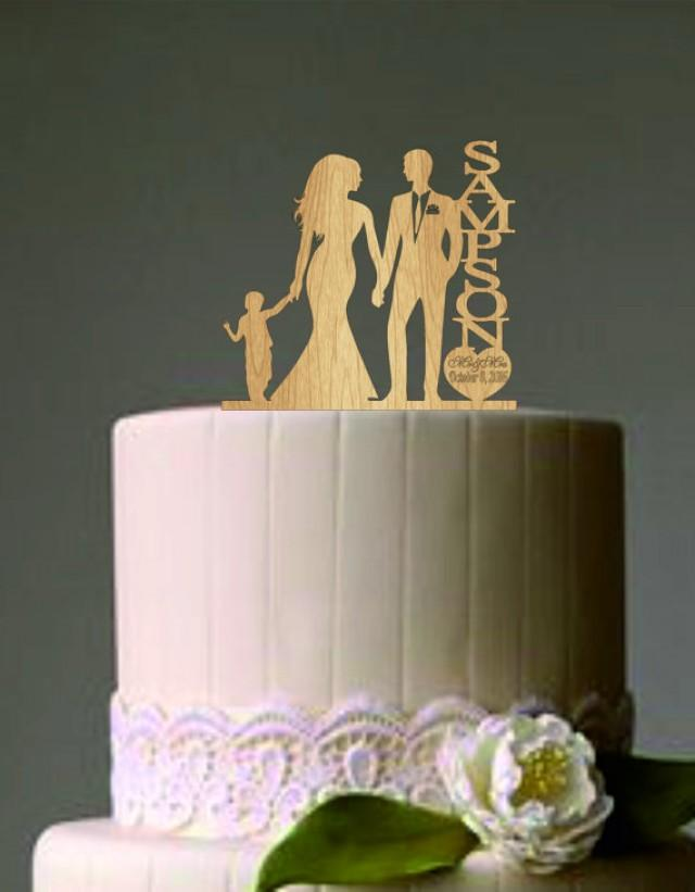 Rustic wedding cake weddbook family wedding cake topper with little boy bride and groom silhouette rustic cake topper unique wedding cake topper mr and mrs topper junglespirit Image collections