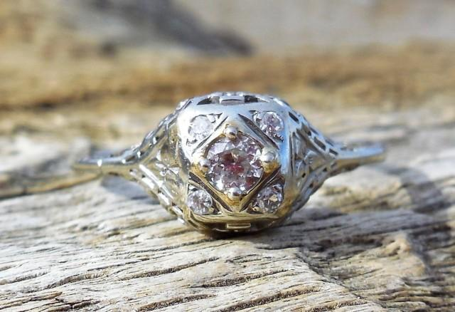 wedding photo - Vintage Antique .28ct Old European Cut Diamond Unique Engagement Ring 1920's Art Deco 18k White Gold Filigree Flowers