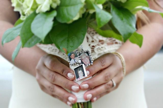 wedding photo - Rhinestone Rectangle Photo Frame Bouquet Charm