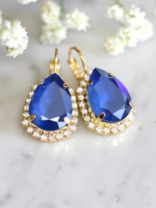 wedding photo - Royal Blue Earrings, Royal Blue Drop Earrings, Sapphire Earrings, Swarovski Blue Earrings, Bridal Earrings,Bridesmaids Earrings,Gift for her
