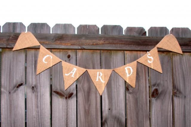 wedding photo - Burlap Cards Banner -  Burlap Banner
