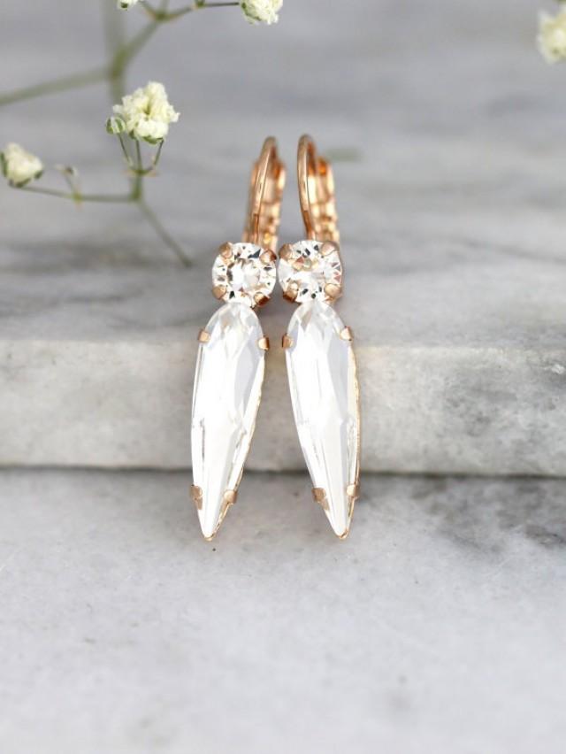 wedding photo - White Crystal Drop Earrings, Bridal Drop Earrings, Swarovski Drop Earrings, Bridesmaids Earrings, Gift For Her,Bridal Clear Crystal Earrings