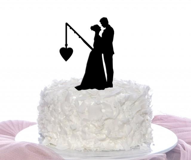 Couple Fishing Cake Topper Wedding Cake Topper Personalized Cake Topper 25