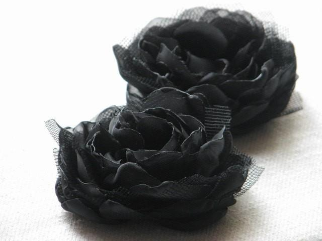 wedding photo - Black hair flower Black hair clips Black peonies Black headpiece Black hair peony clips Halloween black flower Gift for her Black flower