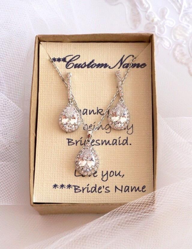 wedding photo - Bridesmaids Jewelry Set, Wedding Necklace, Bridal Jewelry set, CZ Teardrop Pendant Necklace, Bridesmaids Jewelry Set