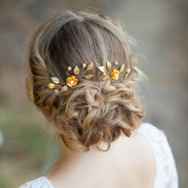 Gold Flowers Wedding Hair Pins Flower Bridal Hair Pins ...