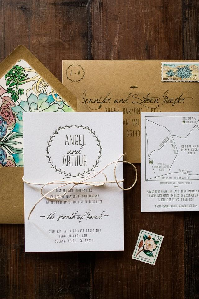 Letterpress Wedding Invitation Floral And Nature Inspired