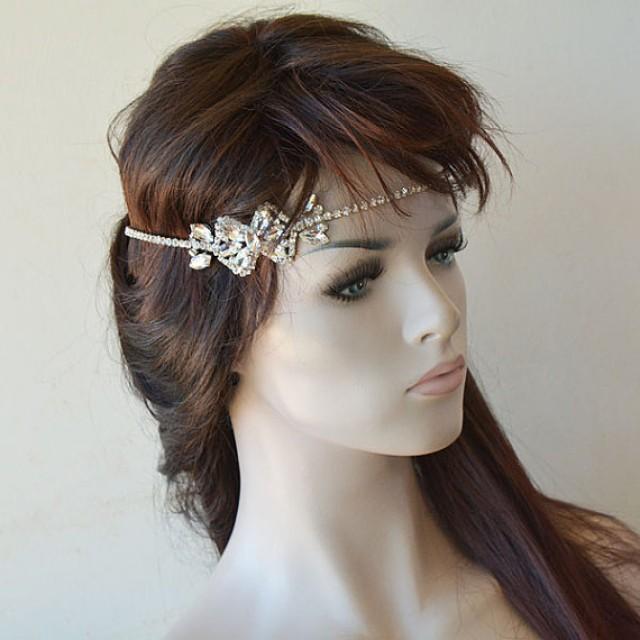 wedding photo - Bridal Headpiece, Crystal Bridal Headband, Wedding Headpiece, Bridal Hair Jewelry