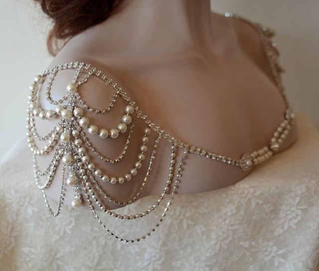 wedding photo - Wedding Dress Shoulder, Wedding Dress Accessory, Bridal Epaulettes, Rhinestone and Pearl Shoulder, Wedding Accessory, Bridal Accessory