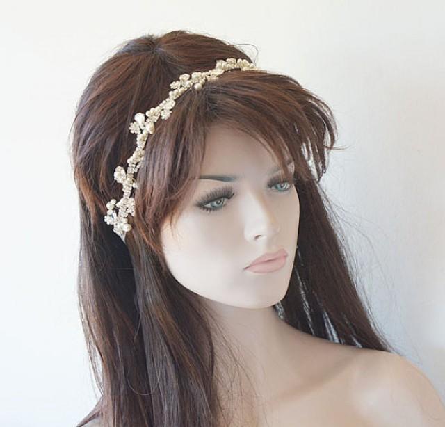 wedding photo - Wedding Rhinestone Headband, Pearl Headband, wedding headpiece, Bridal Hair Jewelry