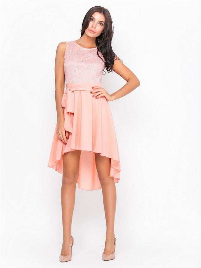 pink bridesmaid dress asymmetrical dress knee length lace