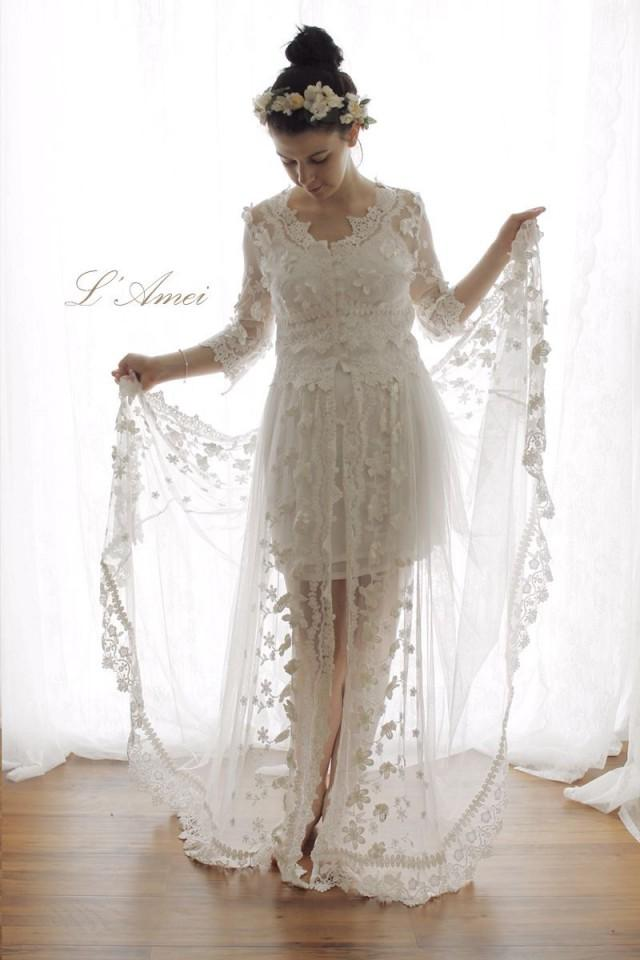 Romantic flower alice in the garden lace wedding dress for Design my perfect wedding dress