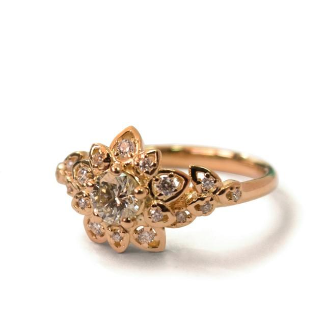 wedding photo - Moissanite Art Deco Petal Engagement Ring - 14K Rose Gold and Moissanite engagement ring, leaf ring, flower ring, vintage, halo ring, 2B