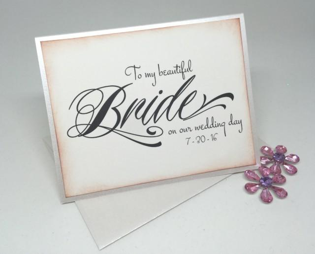 Wedding Card For Bride To My Beautiful Bride Newlywed Card Wedding Day Card Vintage Inspired