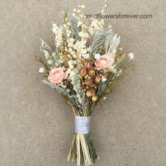 peach dried flower wedding bouquet preserved natural