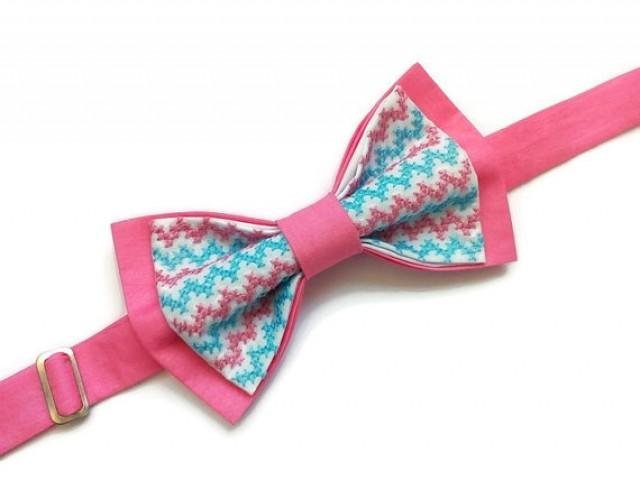 wedding photo - pink bow tie embroidered pink blue chevron wedding bowtie groom pink necktie groomsmen pink tie baby boy photo prop baby shower gift caddeau