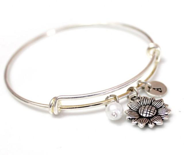 wedding photo - Sunflower Bangle Bracelet, Silver sunflower, Silver Bangle Bracelet, Personalized bracelet, Initial bracelet, Initial Bangle Bracelet