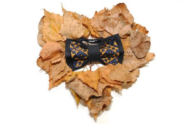 wedding photo - blue bow tie mustard embroidered men's bowtie navy blue ocher necktie groomsmen ties groom fall wedding brown gift him gift brother ocre