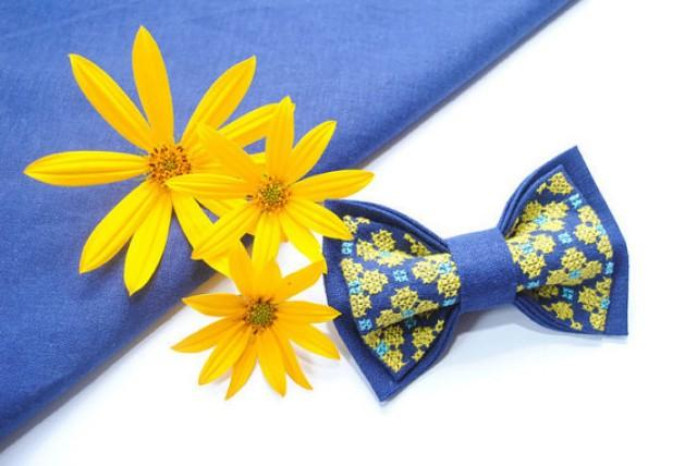 wedding photo - gift gifts men EMBROIDERED BLUE bow tie with bright yellow flowers women's gift boyfriend boys ties wedding necktie christmas gift groomsmen