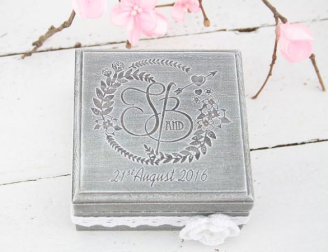 wedding photo - Ring Bearer Box, Wedding/Engagement Ring Box, Personalised Wedding Ring Box, Ring Bearer Pillow,Rustic Wedding Ring Holder,Pillow Bearer Box