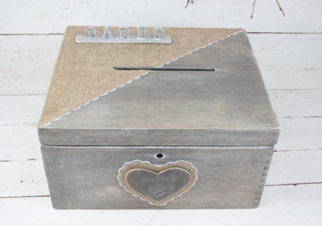 wedding photo - Wedding Card Box, Rustic Wedding Card Box, Rustic Card Box, Rustic Weddings, Advice Box, Card Box, Wedding Gift, Personalised Wedding Gift