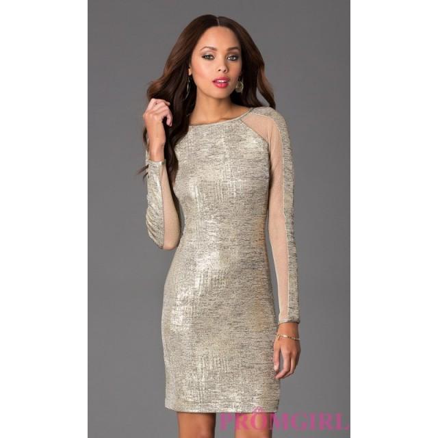 Short Long Sleeve Dress With Sheer Panels