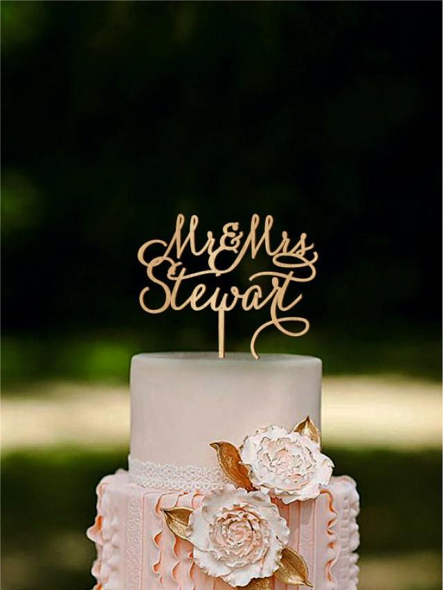 wedding photo - Custom Cake Topper Rustic Wedding Cake Topper Mr Mrs Last Name Cake Topper Personalized Monogram Gold Silver cake topper