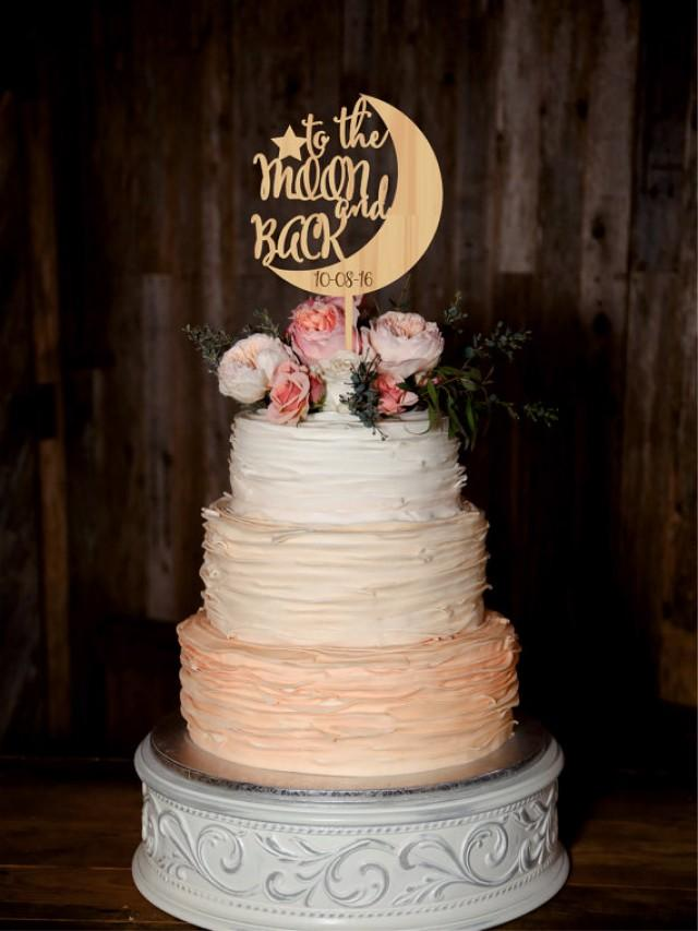 wedding photo - To the Moon and Back Wedding Cake Topper Custom Personalized Cake Topper