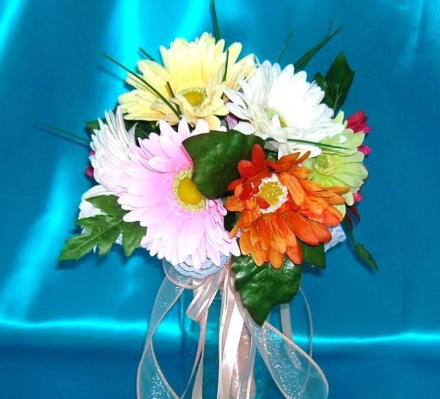 wedding photo - 50% OFF COUPON, Bridal Bouquet With Gerbera Daisies in Pastels and Brights With Peach Colored Satin Wrapped Stems and Ribbons