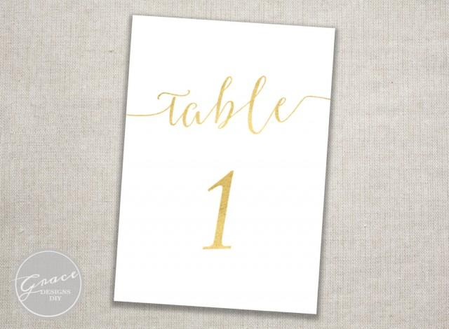 wedding photo - Gold Table Numbers Printable / Slant Calligraphy Script / Instant Digital Download / #1-30 / 5x7 inch cards / Wedding Reception/Dinner Party