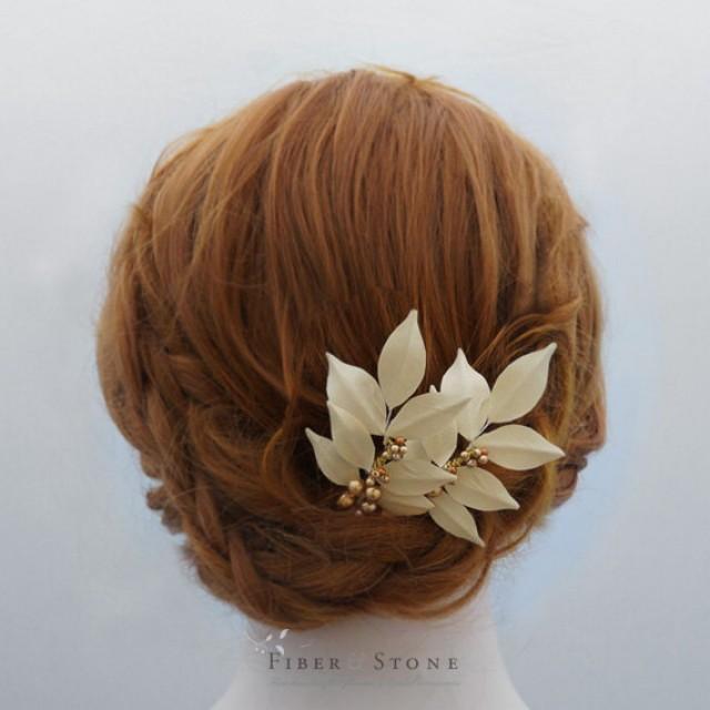 wedding photo - Swarovski Pearl Bridal Hair Piece, Bridal Updo Hairpiece, Fall Wedding Head Piece, Leaf Bridal Head Piece,Bridal Hair Accessory leaf Autumn